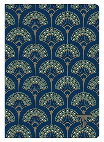 Clairefontaine 192236C Un Carnet Cousu Bleu Paon - A5 14,8x21 cm 48 Pages Lignées Papier Clairefontaine Ivoire 90 g - Couverture Carte Pelliculage Mat - Collection Neo Deco Automne-Hiver