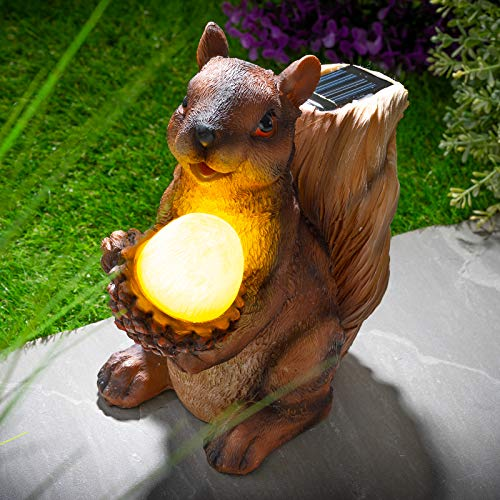 Novelty Light Up Solar Power Red Solar Light Garden Ornament Lawn Statue Figurine Patio Pond Light Decking Outdoor (Squirrel)