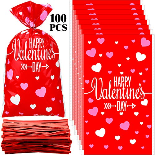 100 Pieces Valentine Cellophane Bags Heart Shaped Red Treat Bags Happy Valentine's Day Gift Bags with Twist Ties for Candy, Gifts, Wedding Party Favors
