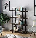 LANGRIA Estantería industrial de 4 niveles, estilo vintage, rústico, de pie, para sala de estar, dormitorio, oficina, cocina (madera antigua)