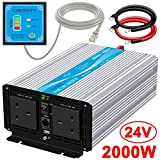 CARRYBATT Pure Sine Wave Inverter 2000W Power Inverter 24V DC to 230/240V AC with 5 Meter Remote Control and Dual AC UK Outlets & 2.1A USB Port for RV Truck Boat