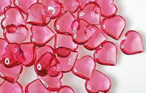 Rose Pink Acrylic Hearts for Vase Fillers, Table Scatter, or Decoration