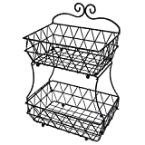 TQVAI Upgraded Version - 2 Tier Fruit Bread Basket Display Stand - Screws Free Design, Black
