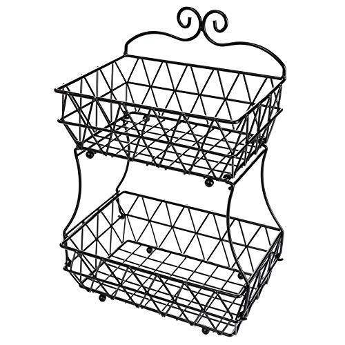 TQVAI 2 Tier Fruit Bowl Screws Free Design Bread Basket Kitchen Countertop Display Stand - Upgraded Version, Black