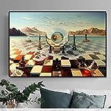 Máscara de ajedrez surrealista abstracto de Salvador Dalí en pinturas marinas sobre lienzo, carteles e impresiones, cuadros de pared para sala de estar, marco interior de 70x105 cm (28x41 pulgadas)
