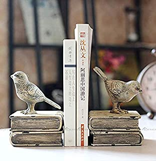 MisslihtResin Beige Bird Bookends Animal Ornenment Study Room Decoration Carft for Gift (gary brid 13x11x15cm)