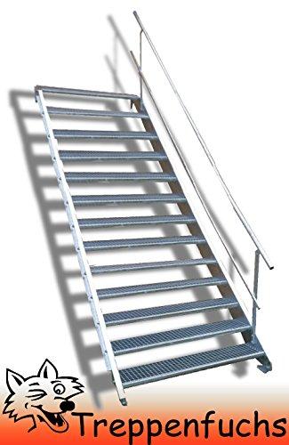 13 Stufen Stahltreppe mit einseitigem Geländer / Breite 130cm Geschosshöhe 195-260cm / Robuste Außentreppe / Wangentreppe / Stabile Industrietreppe für den Außenbereich / Inklusive Zubehör