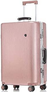 "20""24"" 26""28"" Trolley Aluminum Frame Case High Durable Traveling Bag TSA Custom Aluminum Handrail Spinnable 4-Wheel (Color : Pink, Size : 28inch)"