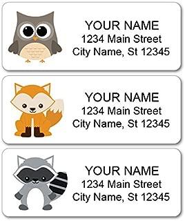 Personalized Return Address Labels - Woodland Animals, Fox, Owl, Raccoon - 120 Custom Self-Adhesive Stickers