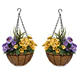 GreenBrokers 2x Artificial Coco Coir Hanging Baskets with Yellow & Purple Pansies and Decorative Grasses (Set of 2) Yellow and Purple Flowers, 50 cm