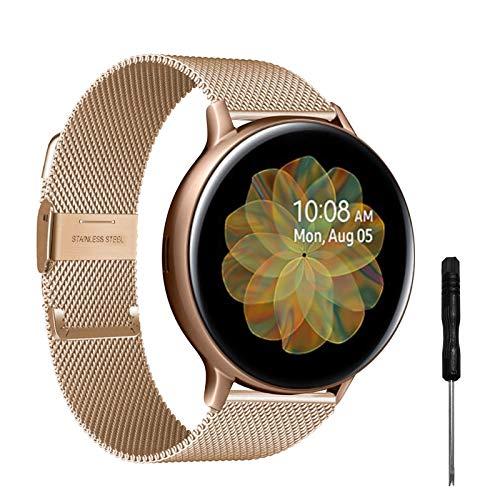 YHC Correas Compatible con Samsung Galaxy Watch Active 2,Pulsera de Reloj Tejida de Acero Inoxidable de 20mm para Galaxy Watch 42mm/Gear S2 Classic/Gear Sport (Oro Rosa)