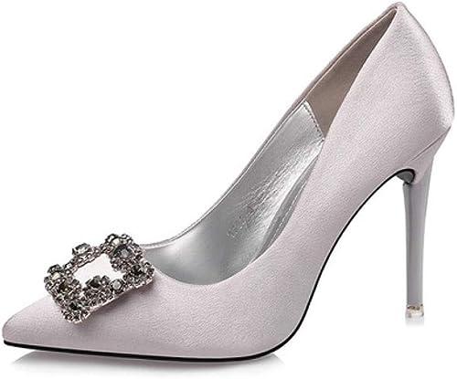 XXHDYR Hochhackige Schuhe Frauen hochwertige Materialien Mode elegant sexy sexy sexy Stiletto Hochzeit Schuhe Kleid Schuhe Frühling und Sommer 10 cm 5 Farben Frauen Schuhe  Luxusmarke