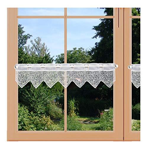 artex deko Moderne Feenhaus-Spitzengardine Ivette weiß 15cm hoher Mini-Scheibenhänger