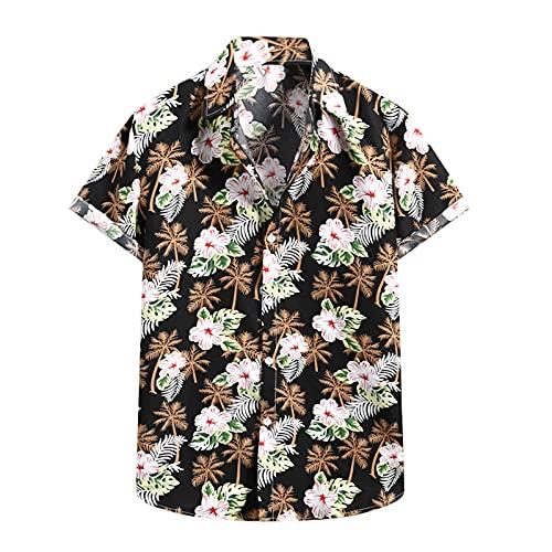 Camiseta de manga corta para hombre, diseño de flores hawaianas E_negro. XXL
