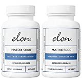 Elon Matrix 5000 with 5000 mcg Biotin | Healthier & Stronger Hair | Pharmaceutical-Grade Ingredients & Extended-Release | for All Hair Types (60 Tablets)