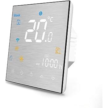 Termostato Inteligente para caldera de gas/agua,Termostato Calefaccion Wifi Pantalla LCD (Panel cepillado) Botón táctil retroiluminado programable con Alexa Google Home and Phone APP