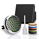 Flower of Life Car Essential Oil Diffuser,1.2' Aromatherapy Essential Oil Vent Clip,Fragrance Locket-Waterless & Wireless