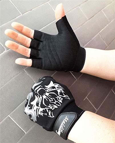 MHYNLMW Wolf Head Pattern Half Finger Mitten Dünnschliff Anti-Rutsch-atmungsaktiv Fingerlose Männer und Frauen Outdoor-Sportarten Wandern Reiten Fitness-Handschuhe (Color : Black, Size : XL)