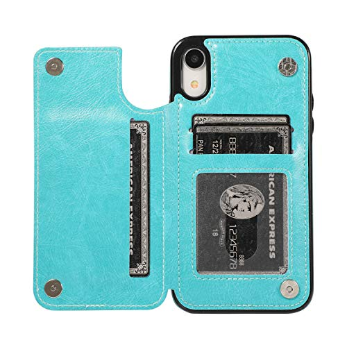 ACXLIFE iPhone XR Case XR Card Credit Holder Wallet Protective Cover with Card Slot and Leather Case for iPhone XR 6.1Inch (SkyBlue)