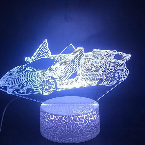 Sanzangtang Led-nachtlampje, 3D-vision-zeven-kleuren, groot licht voor aanpassing van de kleur van de sportwagen-wekker met afstandsbediening, nachtlampje voor meisjes