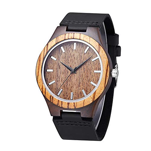 Mens Wooden Watches Natural Sandalwood Handmade Wood Watch Black Genuine Leather Strap Japanese Movement