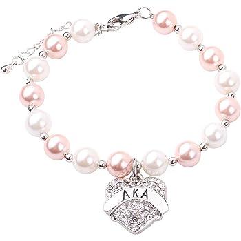 RUNXINTD Alpha Kappa Alpha Sorority Bracelet Sorority Jewelry AKA Pearl Bracelet Gift for Womens,Girls