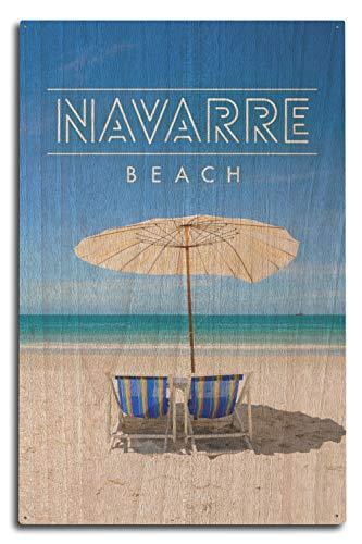 Ced454sy Navarra Beach, sillas de playa y paraguas 96013, impresiones artísticas, para colgar en la pared, placa decorativa de madera, placa de decoración del hogar, placa de madera para casa de campo, regalo de cumpleaños familiar o decoración de pared del hogar