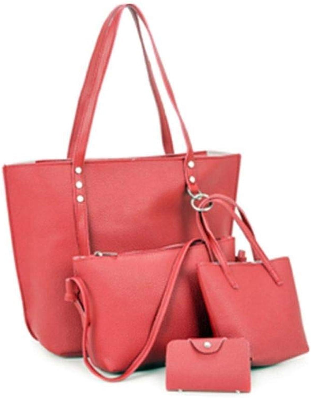 Bloomerang 4 Pieces Set PU Leather Mix and Match Fashion Composit Bag Handbag Tote Shoulder Bag Crossbody Bag Wallet Mobile Phone Bag color Red