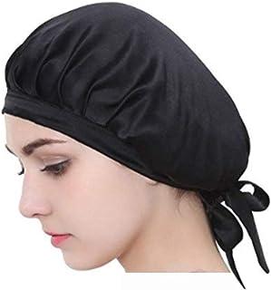 Auma Women's Soft Satin Sleeping Cap-Silk Night Sleep Hat Headwear - Black