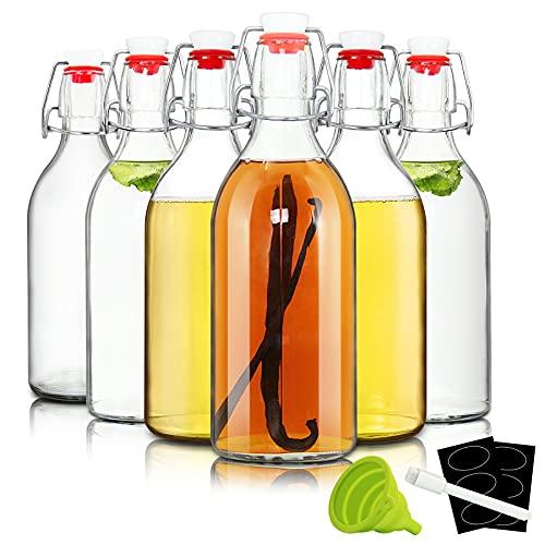 16oz Swing Top Bottles -Glass Beer Bottle with Airtight Rubber Seal Flip Caps for Home Brewing Kombucha,Beverages,Oil,Vinegar,Water,Soda,Kefir (6 Pack)