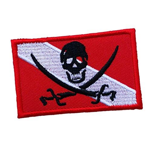 Hierro Bordado en el Emblema de la Bandera Pirata de Recuerdo Emblema para el Buzo de Buceo