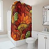 Zhiyue Neu 100prozent Polyester Duschvorhang Flower Badvorhang Undurchsichtig Waschbar Badzubehör für Zuhause Für Badezimmer Mit Haken White 200x200cm