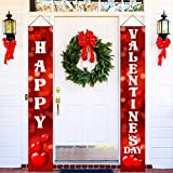 Red Happy Valentines Day Banner - 2 Pcs, 72x12 Inches   Valentine Front Door Sign for Romantic Heart Decorations   Red, White Love Valentine Hanging Door Banner for Home, Valentines Party Decorations