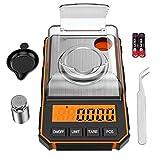 ORIA Feinwaage 0,001g, Digitale Milligramm Waage 50g / 0,001g, Digitale Taschenwaage mit LCD-Anzeige, Lab Digitale Waage, Tragbare Mini-Waage mit Wiegeschale, Kalibriergewichten und Pinzette - Orange