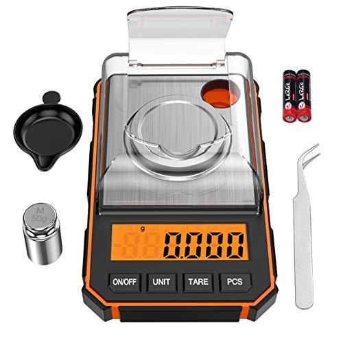 ORIA Mini Balance Numérique, 50g/0.001g Balance de Poche avec Poids de Calibrage 50g, Tare et Ecran LCD Rétroéclairé Fonction, Balance de Cuisine pour Aliments, Poudre, Bijoux, etc - Orange