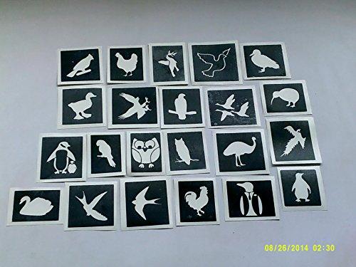 30 x Vogel Themen Schablonen (gemischt) für Glitzer Tattoos / Gesicht malen Vögel Papagei Schwan Adler Fischadler Eule Pinguin Verkauf