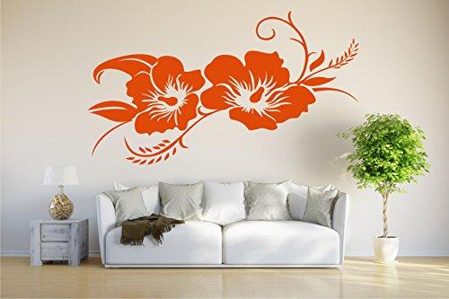 INDIGOS UG - Wandtattoo Wandsticker Wandaufkleber Aufkleber - Hibiskusblüte - Hibiskus - 80cm x 42cm orange - Büro Wohnzimmer Hotel Küche Dekoration