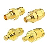 Eightwood Kit Adaptador SMA Antena Adaptador MCX a SMA 4 Piezas para enrutador Wirelesse Antena WiFi Antena GPS WLAN LAN