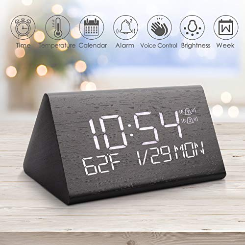 Wooden Digital Alarm Clock, 2020 Updated Voice Command Electric LED Bedside Travel Triangle Alarm Clock, Display Time Date Week Temperature for Office & Home