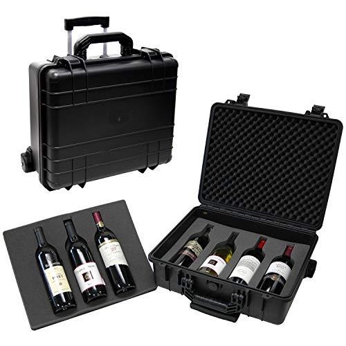 T.Z. Case International T.z 7-Bottle Wheeled Wine Case, Molded Polypropylene, Black, One Size