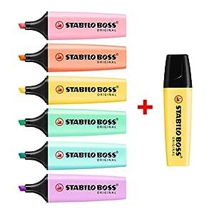 Stabilo Boss – Juego de 7 subrayadores, rotuladores marcadores, gama completa de colores