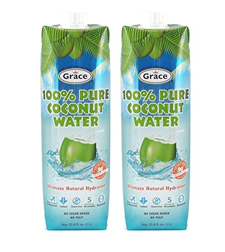 Grace Pure Coconut Water (2 Pack, Total of 2 Liters)
