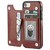 iPhone 8 Wallet Case with Card Holder,OT ONETOP iPhone 7 Case iPhone SE(2020) Wallet Premium PU Leather Kickstand Card Slots,Double Magnetic Clasp and Durable Shockproof Cover 4.7 Inch(Brown)