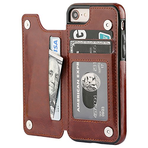 OT ONETOP iPhone 8 Wallet Case with Card Holder, iPhone 7 Case iPhone SE(2020) Wallet Premium PU Leather Kickstand Card Slots,Double Magnetic Clasp and Durable Shockproof Cover 4.7 Inch(Brown)
