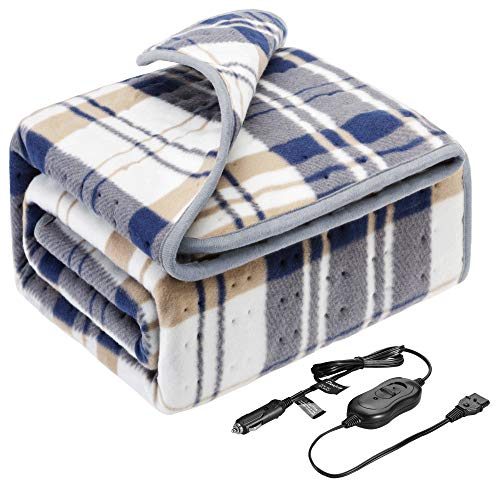 Elantrip12 Volt(8A,45W) Machine Washable Electric Heated Blanket for Car Vehicle Truck SUV, Flannel Heated Travel Blanket with Temp Controller 40x55 inch Blue