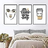 Gold Girl Wall Canvas Painting Taza de café Cita de pestañas Imagen de arte Póster de impresión de maquillaje para dormitorio de niña Decoración del hogar 15.7 'x 19.6' (40x50cm) x3 Sin marco
