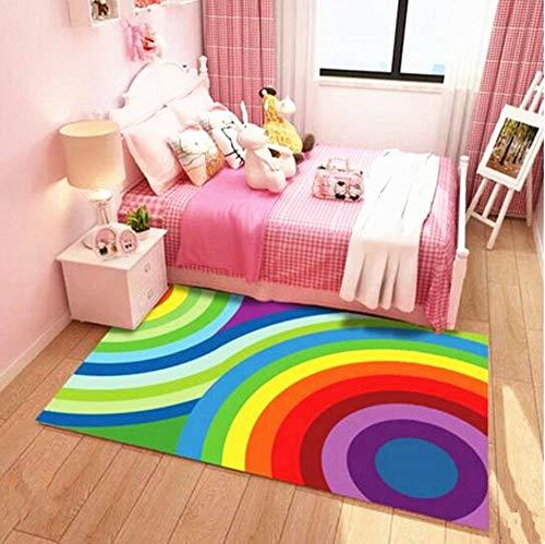 Kinder Teppich Spielteppich Kinderzimmer Regenbogen bunt Krabbelteppich,Spieldecke für...