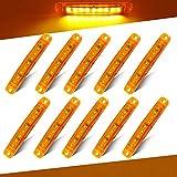 Teguangmei 10Pcs LED Luces de Posición Lateral 12-24V Amarillo de Posición Lateral 3,9'' Luz de Advertencia,Utilizada Para Luces de Posición Delanteras y Traseras de Camión Remolque, Camión, Caravana