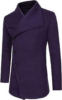 Sodossny-AU Men's Classic Notched Collar Plain Wool Blend Midi Pea Coats