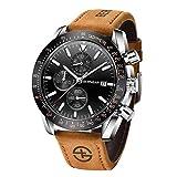 BERSIGAR Elegante orologio da uomo con movimento al quarzo analogico Cinturino in acciaio cronografo impermeabile Orologio da uomo stile casual